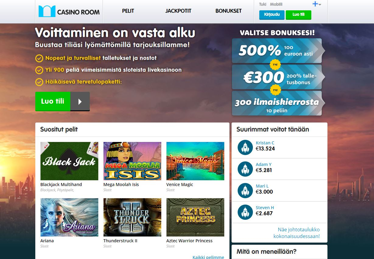 Casino Room 100 Bonus 500 Asti Ja 200 Ilmaiskierrosta